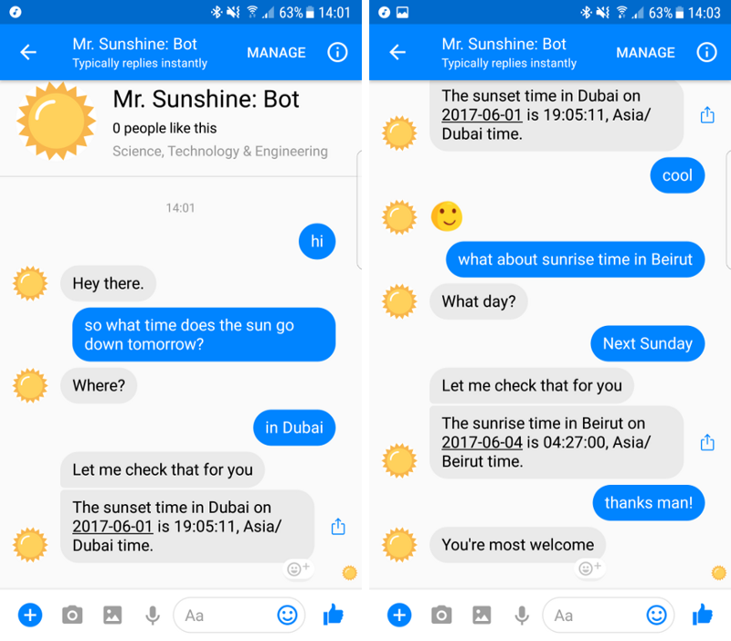 a conversation with a chatbot